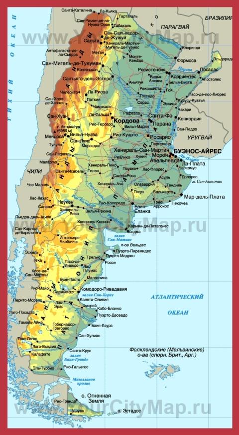 Города Аргентины на карте
