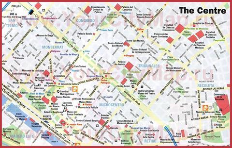 Туристическая карта центра Буэнос-Айреса