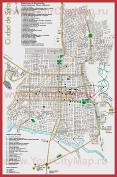 Туристическая карта Сальты с достопримечательностями