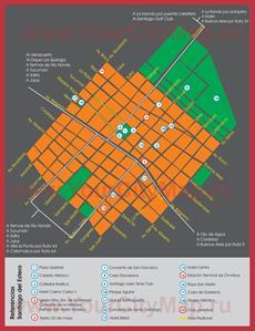 Подробная туристическая карта города Сантьяго-дель-Эстеро с достопримечательностями