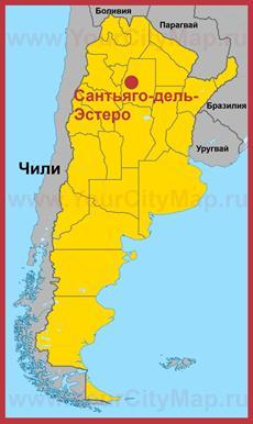 Сантьяго-дель-Эстеро на карте Аргентины