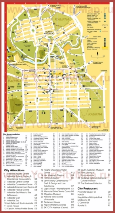 Туристическая карта Аделаиды с отелями и достопримечательностями