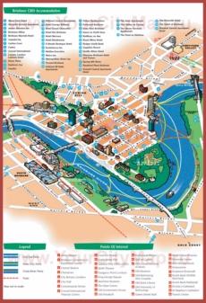 Туристическая карта Брисбена с отелями