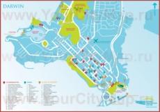 Туристическая карта Дарвина с отелями, достопримечательностями и ресторанами