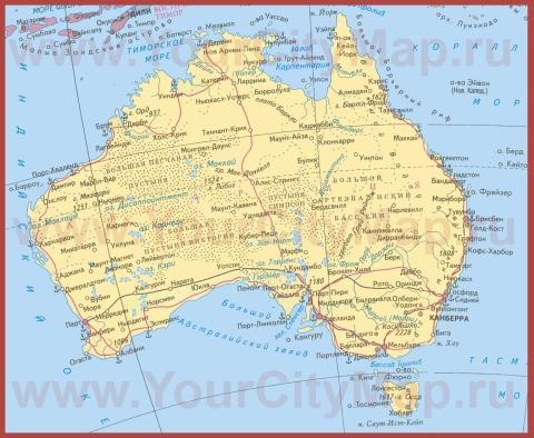 Города Австралии на карте