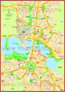 Туристическая карта Канберры с достопримечательностями