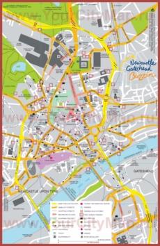 Туристическая карта Ньюкасла с достопримечательностями