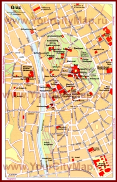 Туристическая карта Граца с достопримечательностями