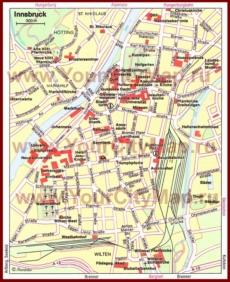 Карта Инсбрука с достопримечательностями