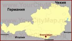 Клагенфурт на карте Австрии