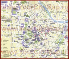 Карта Вены с отелями и достопримечательностями