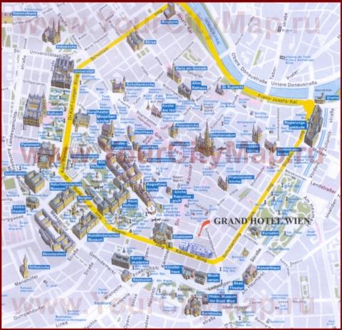 Туристическая карта центра Вены