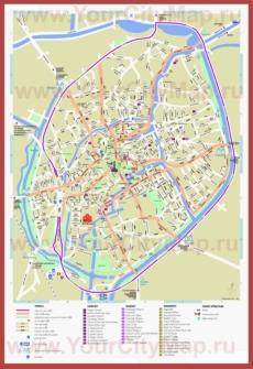 Карта Брюгге с достопримечательностями