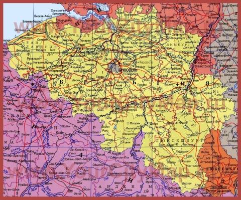 Города Бельгии на карте