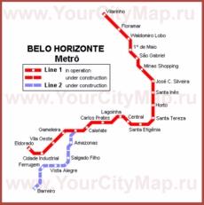 Карта метро Белу-Оризонти