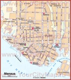 Туристическая карта Манауса с достопримечательностями