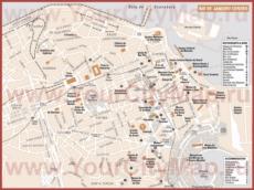 Карта центра Рио-де-Жанейро с отелями и достопримечательностями