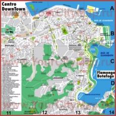 Туристическая карта центра Рио-де-Жанейро с достопримечательностями