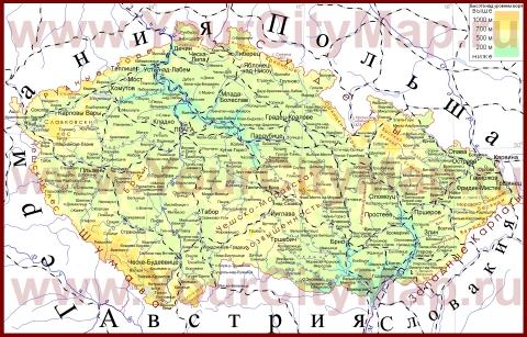 Города Чехии на карте