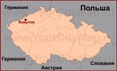 Хомутов на карте Чехии