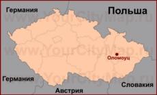 Оломоуц на карте Чехии