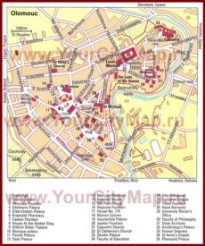 Туристическая карта Оломоуца с достопримечательностями