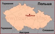 Пардубице на карте Чехии