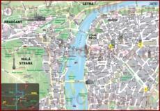 Карта центра Праги с достопримечательностями