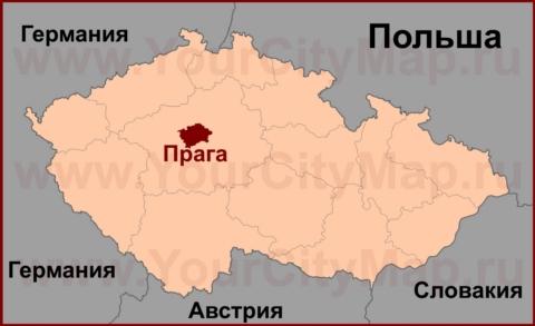 Прага на карте Чехии