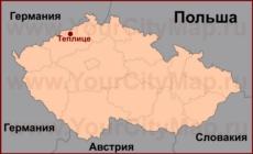 Теплице на карте Чехии