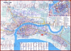 Подробная туристическая карта Пярну с отелями и достопримечательностями