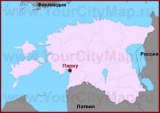 Пярну на карте Эстонии