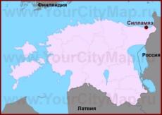 Силламяэ на карте Эстонии