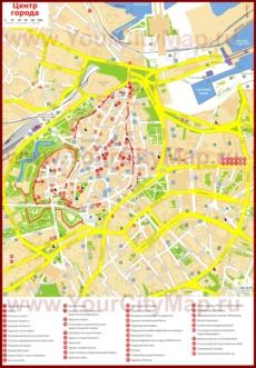 Карта старого города (центра) Таллина с отелями и достопримечательностями