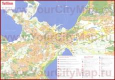Подробная туристическая карта Таллина с отелями и достопримечательностями