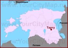 Тарту на карте Эстонии