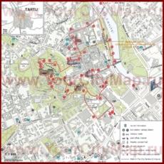 Туристическая карта Тарту с достопримечательностями