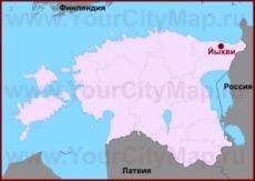 Йыхви на карте Эстонии