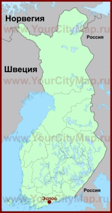 Эспоо на карте Финляндии