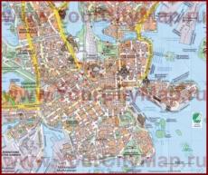 Туристическая карта центра Хельсинки с достопримечательностями
