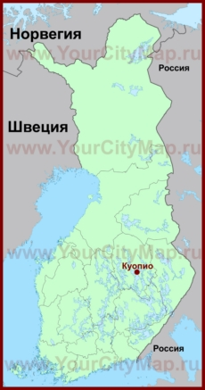 Куопио на карте Финляндии