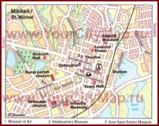 Карта Миккели с достопримечательностями