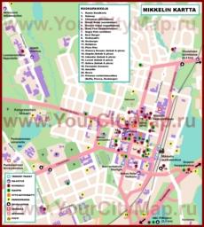 Туристическая карта Миккели с ресторанами