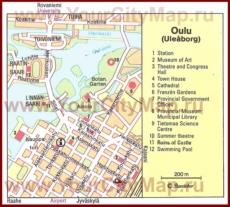 Карта Оулу с достопримечательностями