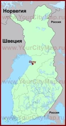 Оулу на карте Финляндии