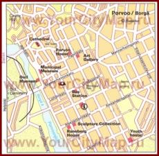Туристическая карта Порвоо с достопримечательностями