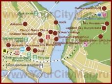 Туристическая карта Рованиеми с отелями