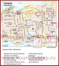 Туристическая карта Тампере с достопримечательностями
