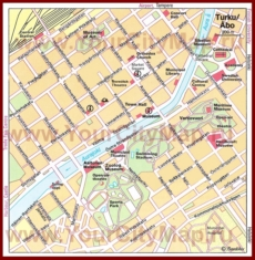 Туристическая карта Турку с достопримечательностями