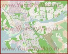 Подробная карта города Йоэнсуу с магазинами